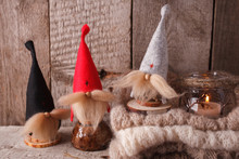 Christmas Docoration Und Lantern. Greeting Card Un Symbol Xmas, Monochrome Hygge Style