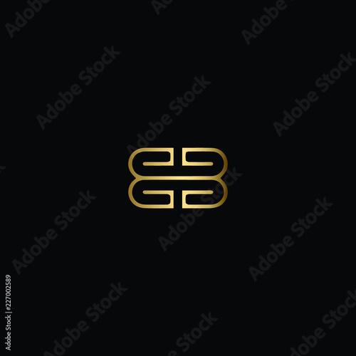 Letter BB Logo Design, Creative Minimal BB Logo Design Using Letter B B in Gold Canvas Print