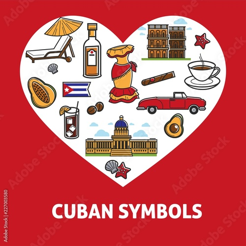 Cuban culture promo banner with national symbols set. Canvas Print
