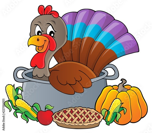Fotobehang Voor kinderen Turkey bird in pan theme image 3