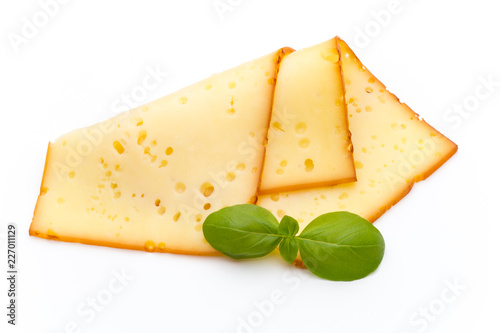 Cheese slices isolated on the white background.