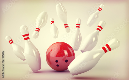 Bowling background with skittles and ball Fototapet