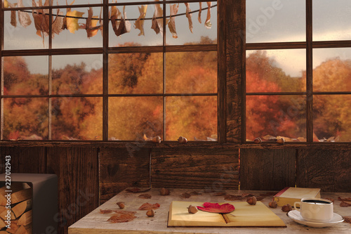 fototapeta na szkło 3d rendering of cup of coffee on wooden windowsill with leaves in front of colorful forest