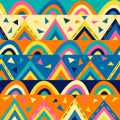 Colorful seamless pattern for children. Vector geometric texture. Good for ch...