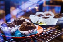 Fresh Muffins With Chocolate Chips In Fridge Display With Street Reflections On Glass, Cafe, Shallow Dof, Sweet Delicious Food Photo