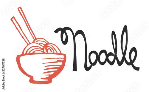 Fotografie, Obraz Bowl full of tasty noodles, logo hand-drawn with sumi-e brush