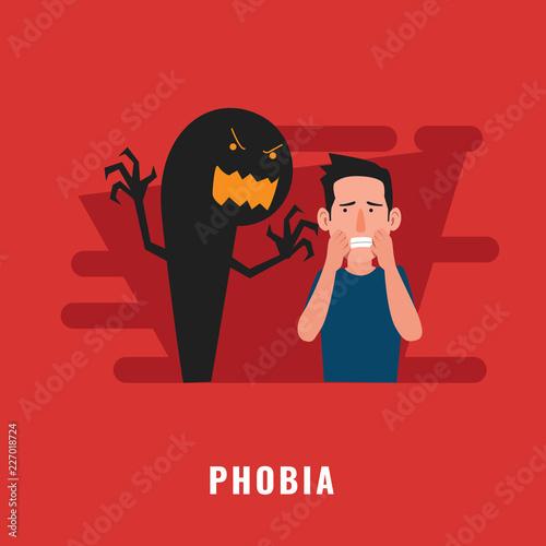 Photo Phobia psychological disorder. Mental health illustration