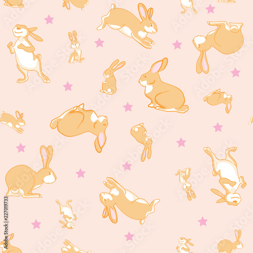 Photo sur Aluminium Hibou Vector pattern with bunnies and stars. Cute animal illustration for kids, boys, girls. Vector pattern for pyjamas, textile, fabric, t-shirt, underwear