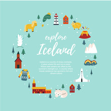 Iceland Cartoon Vector Banner. Travel Illustration