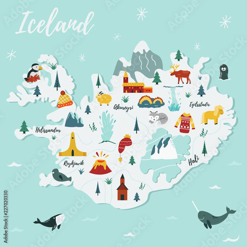 Photo Iceland cartoon vector map. Travel illustration