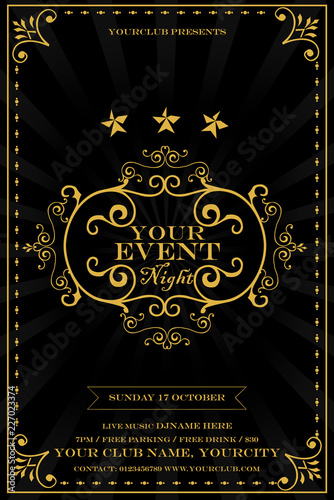 Abstract Invitation Background With Antique Luxury Black