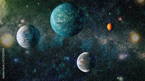 Kepler planets, stars and galaxies in outer space showing the beauty of space exploration. Elements furnished by NASA .