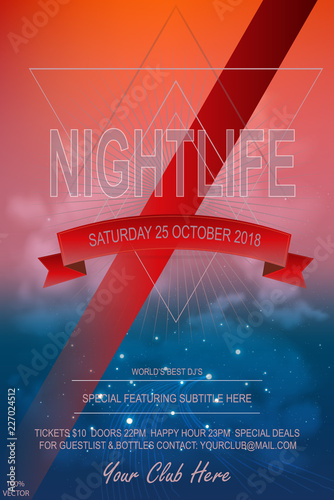 Invitation & event card template Night Dance Party Poster