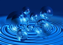 3d Blue Spheres And Ripples Graphic Background