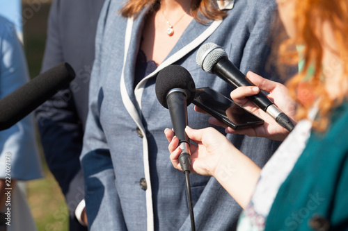 Journalists making media interview with businesswoman or female politician Canvas
