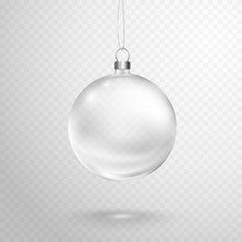 Christmas Tree Ball With Silver Ribbon Isolated On Transparent Background. Vector Translucent Glass Xmas Bauble Template.