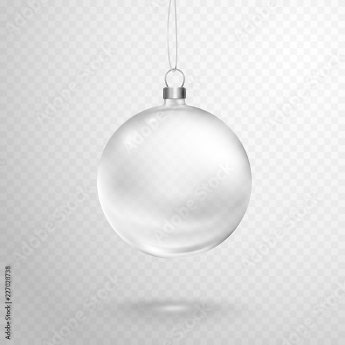 Valokuvatapetti Christmas tree ball with silver ribbon isolated on transparent background