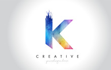 K Paintbrush Letter Design With Watercolor Brush Stroke And Modern Vibrant Colors