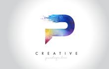 P Paintbrush Letter Design Wit...