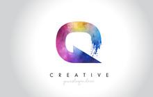Q Paintbrush Letter Design Wit...