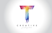 T Paintbrush Letter Design Wit...