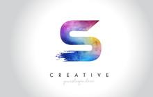 S Paintbrush Letter Design Wit...