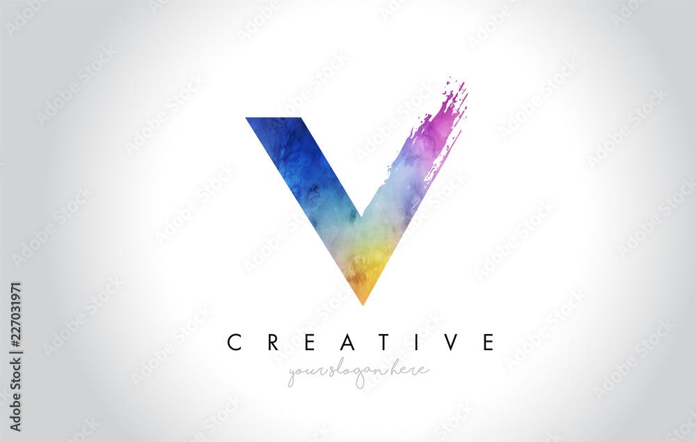 Fototapeta V Paintbrush Letter Design with Watercolor Brush Stroke and Modern Vibrant Colors