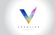 V Paintbrush Letter Design with Watercolor Brush Stroke and Modern Vibrant Colors