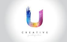U Paintbrush Letter Design Wit...