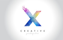 X Paintbrush Letter Design With Watercolor Brush Stroke And Modern Vibrant Colors