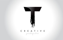 T Letter Design With Brush Stroke And Modern 3D Look.