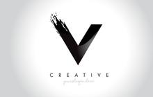 V Letter Design With Brush Str...