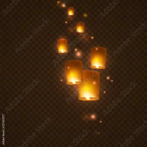 Lanterns isolated on transparent background Canvas Print