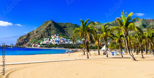 Best beaches of Tenerife - Las Teresitas near Santa Cruz. Canary islands