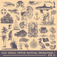Collection Of Nautical Vector Engravings