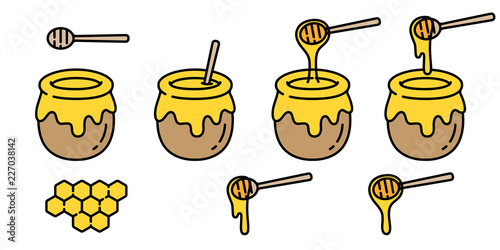 Photo  honey vector bear bee polar bear food bakery bake jam character cartoon illustra