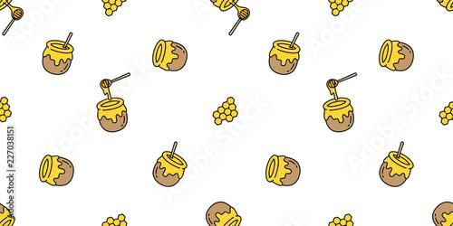 Obraz na plátne honey seamless pattern vector bear bee polar bear bakery bake jam food scarf iso