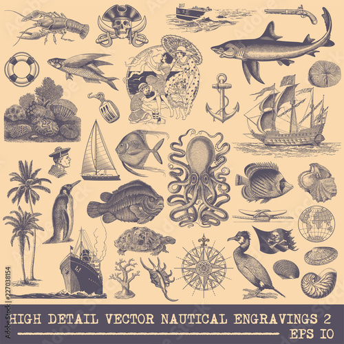 Collection of Nautical vector engravings Canvas Print