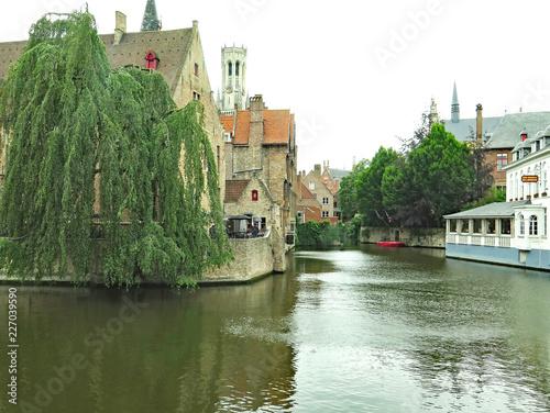 Deurstickers Brugge Vista de Brujas, Bélgica, Europa