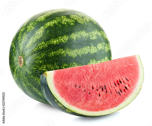 Whole and slice of ripe watermelon
