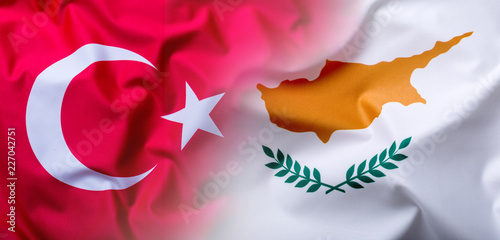 Foto op Aluminium Cyprus Flags of the Turkey and Cyprus.