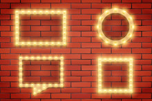 Set Of Retro Light Bulbs And Frames On Brick Wall. Volumetric Light. Advertising Design Of Signboard. Vector Illustration