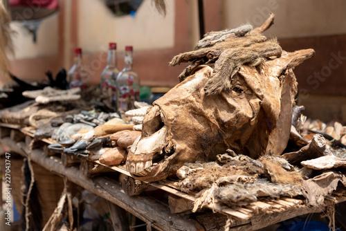 Dead animals at Voodoo market stall in Ouidah, Benin  West