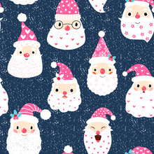 Cute And Funny Seamless Pattern With Hipster Santa Faces On Dark Background For Christmas And New Year Designs