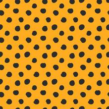 Doodle Black Dots Or Speckles On Orange Background Pattern