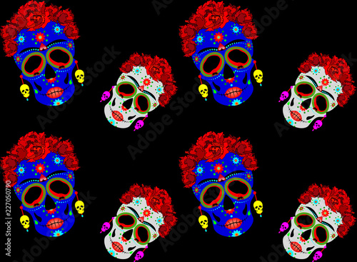 5084de948a8 Mexican skull seamless pattern, Calavera with flowers. Decoration ...