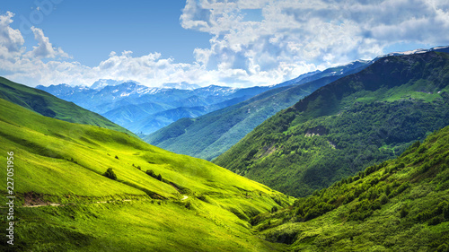 Foto op Aluminium Bergen Mountain landscape of Svaneti mountains ranges