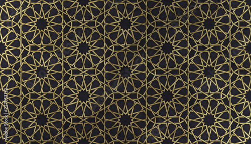 Fototapeta Islamic decorative pattern with golden artistic texture.