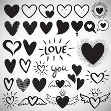 Big Set Of Various Heart Templ...