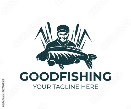 Photo Fishing, fisherman holds carp fish and standing in the reeds, logo design